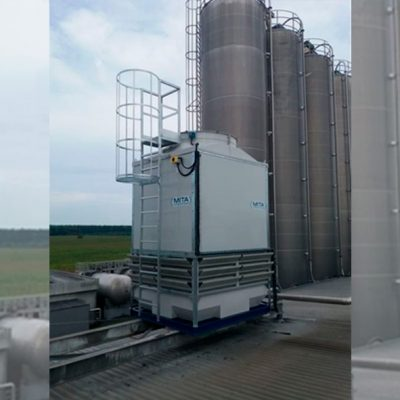 An industrial cooling tower installed for Coca-Cola in Kiev