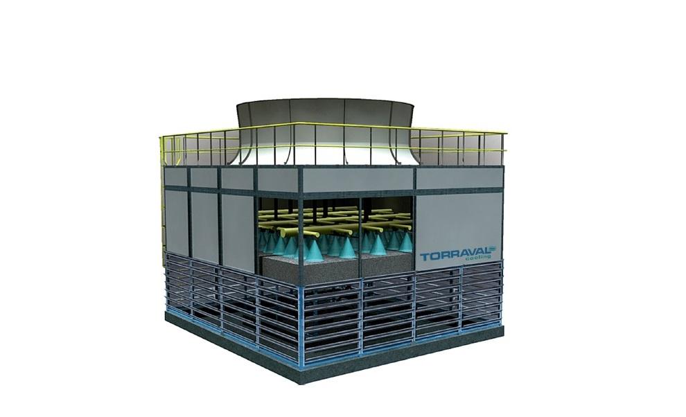 Funcionamiento de torre de refrigeración evaporativa