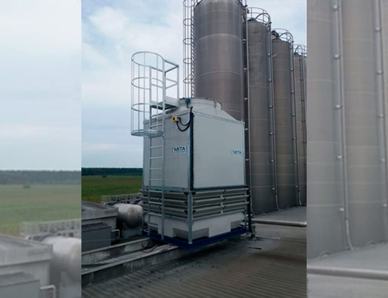 An industrial cooling tower installed for Coca-Cola