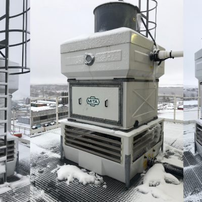 Fiberglass cooling towers in corrosive environments
